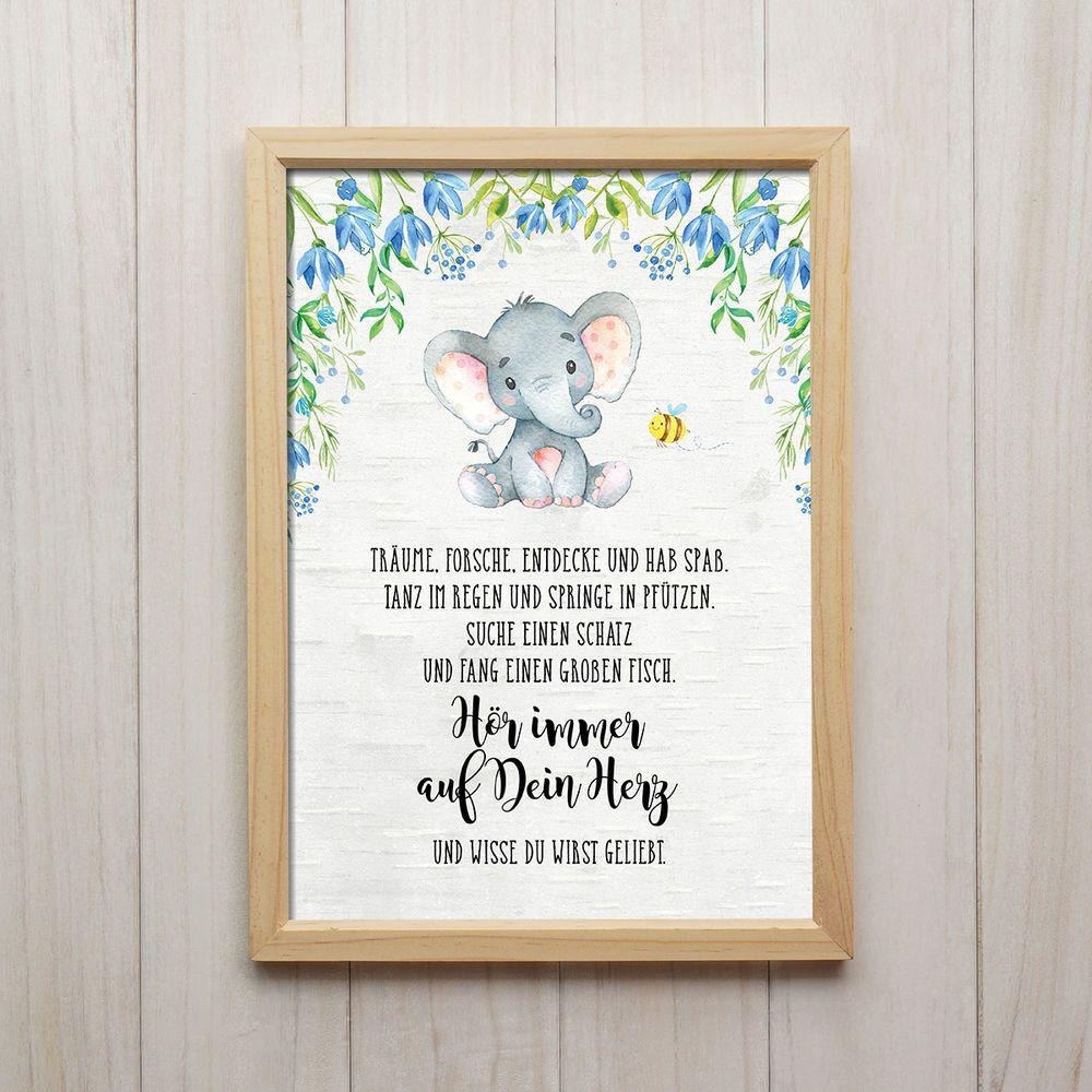 Hör auf Dein Herz Kunstdruck DIN A4 Elefant Spruch Bild ...