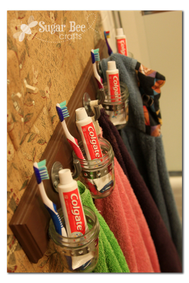 Bathroom Organization Hook Board (follow the link for more details)