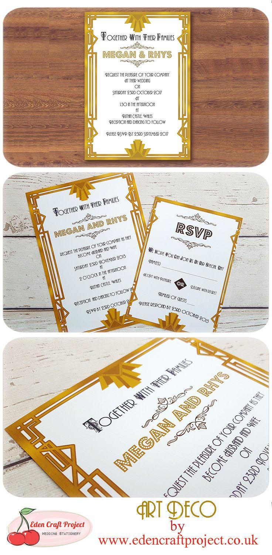 Art Deco Wedding Invitation. Perfect for Retro, Glamour, Gold ...