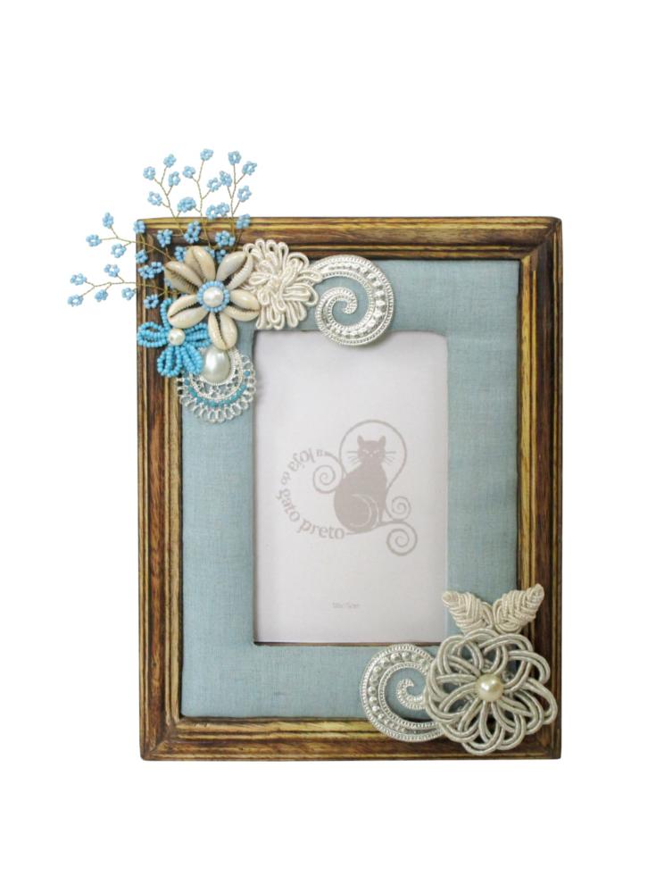 A Loja do Gato Preto   Moldura Tecido Azul Flor #alojadogatopreto