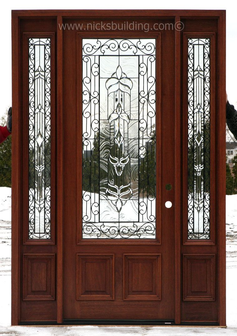 Antique Cherry Stained Solid Wood Entry Door With Beautiful Iron