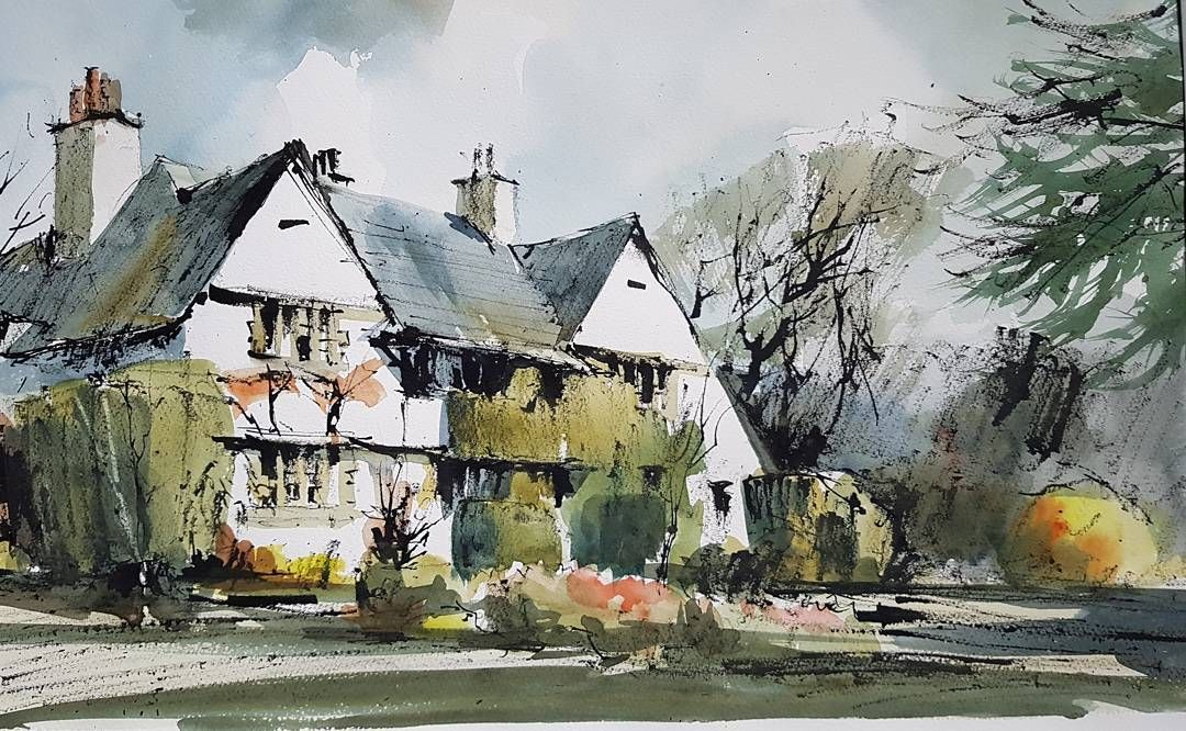 "John hoar on Instagram: ""Voysey house in Bucks. #Penandink #watercolour #Architecture #houseportraits #artcourses"""