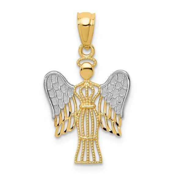 14k Yellow Gold Filigree Angel Pendant Charm Necklace Religious Fine Jewellery For Women Gifts For Her