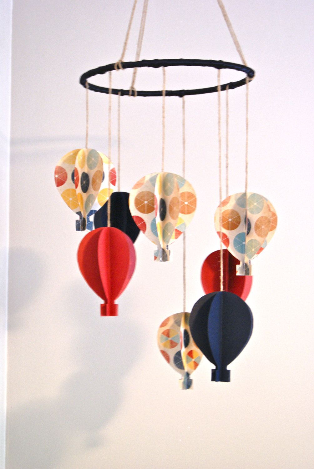 Boys Red/Navy 3D Paper Hot Air Balloon Mobile by