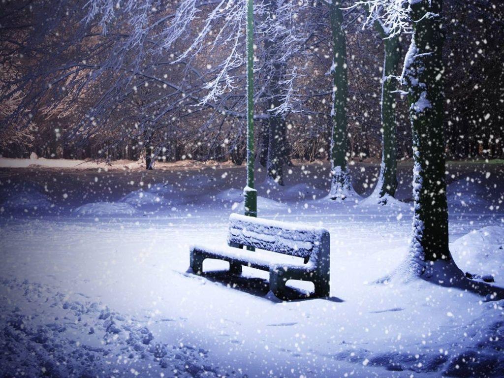 1024x768 Snowing Park Desktop Pc And Mac Wallpaper Free Winter Wallpaper Snowy Bench Park