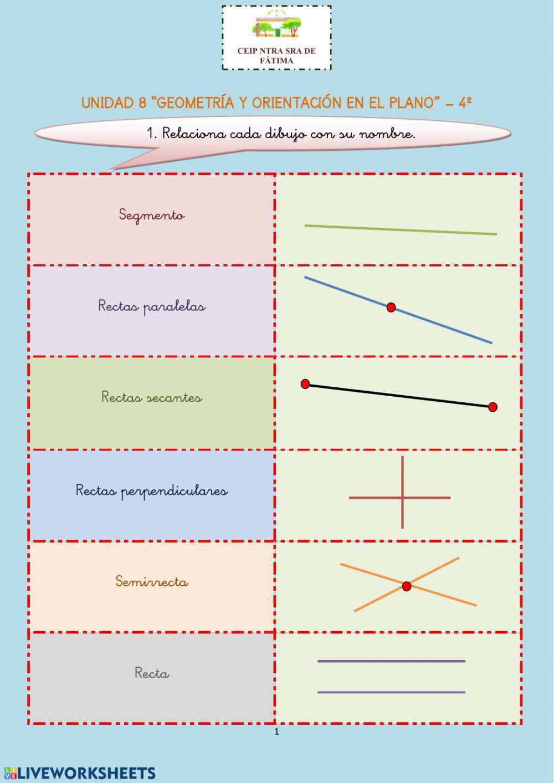 Rectas Semirrectas Y Segmentos Ficha Actividades De Geometría Prácticas De Matemáticas Carteles Para Fijar Conocimientos