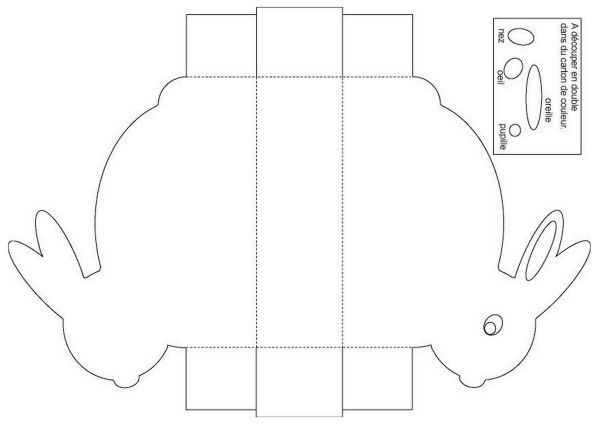 Lapin de paques couleur yeux collages de papier et papier couleur - Fabriquer une cloche en carton ...