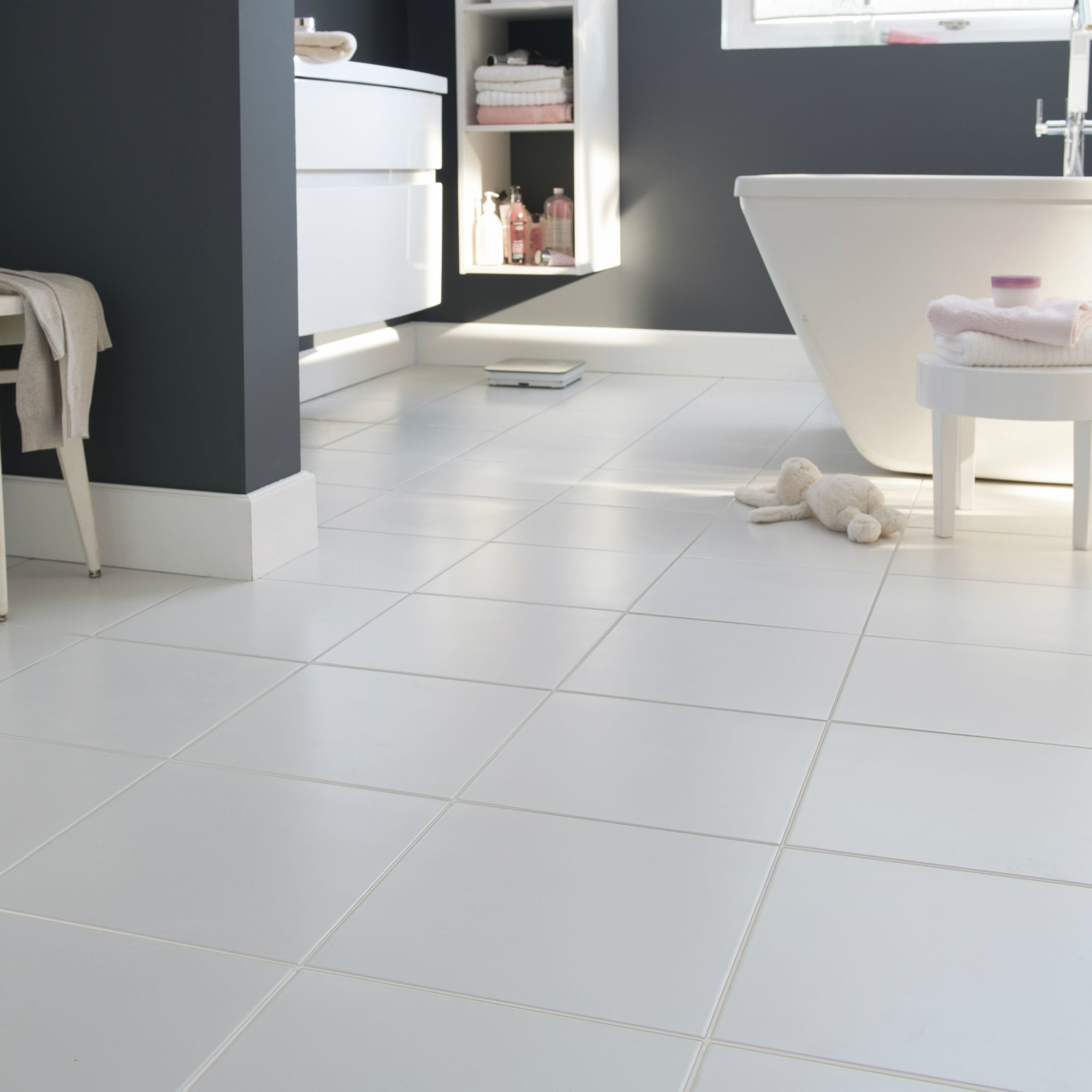 Monzie White Matt Ceramic Floor Tile Pack Of 16 L 300mm W 300mm Departments Diy At B Q Tile Floor Ceramic Floor Flooring
