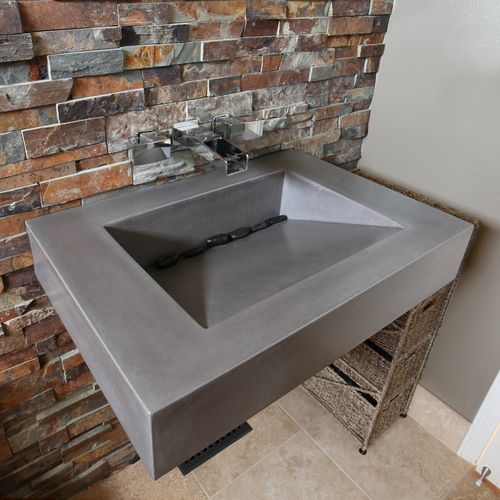 "Trueform 30"" ADA Floating Concrete Sink designed for a restaurant, bar or hotel and meets requirements for thickness, set backs and clearances. Wharton, New Jersey."