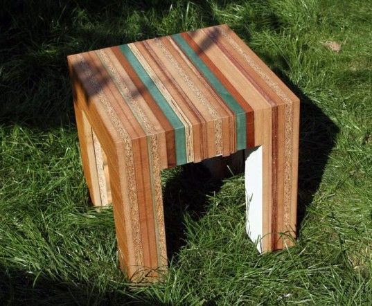 Re-Cut recycled wood furniture by Tristan Titeux