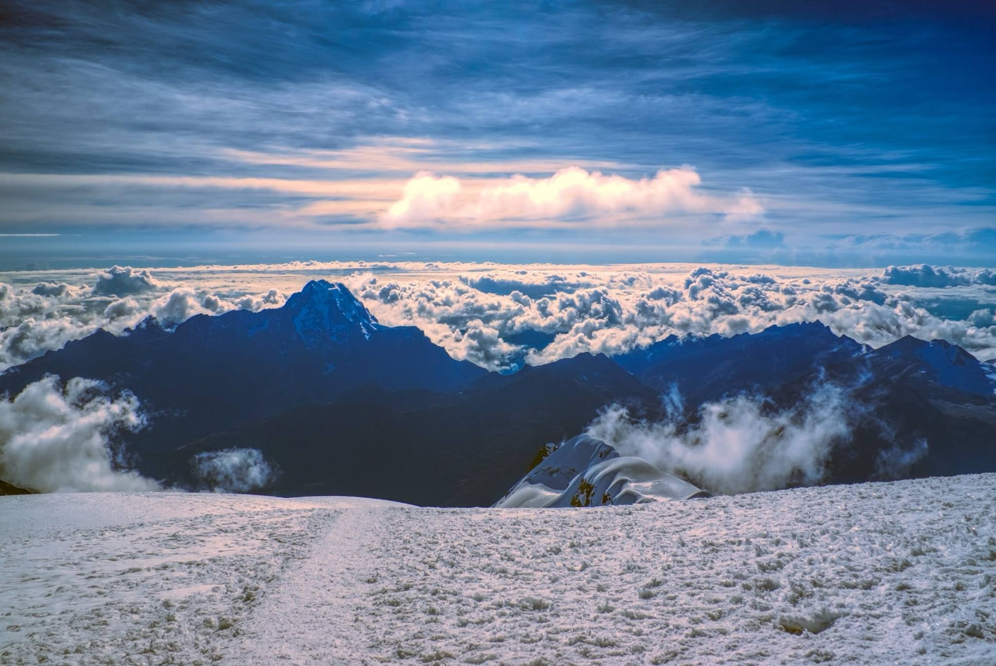 Breathtaking morning view from near the top of Mount Huayna Potosi (6,088 m) in Bolivia.