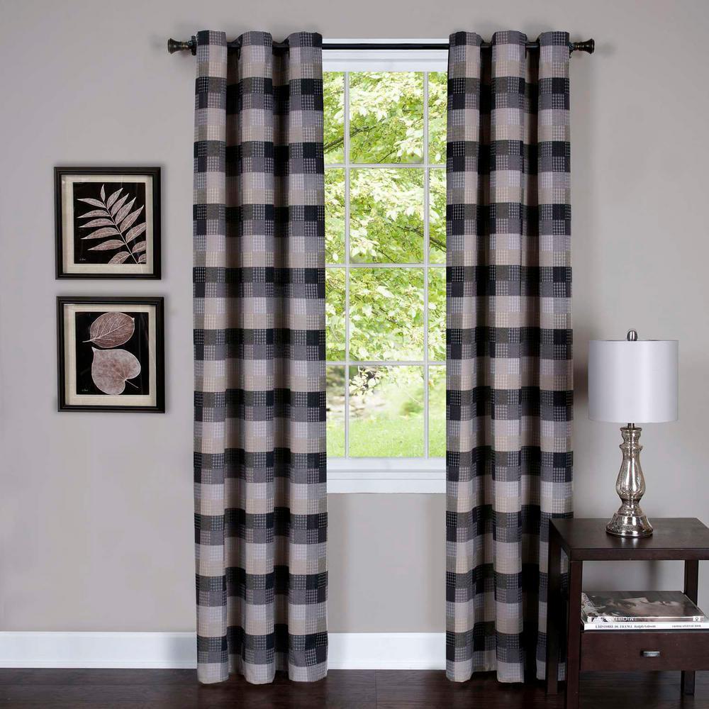 Achim Harvard Black Window Curtain Panel W 6 Grommets 42 In W X