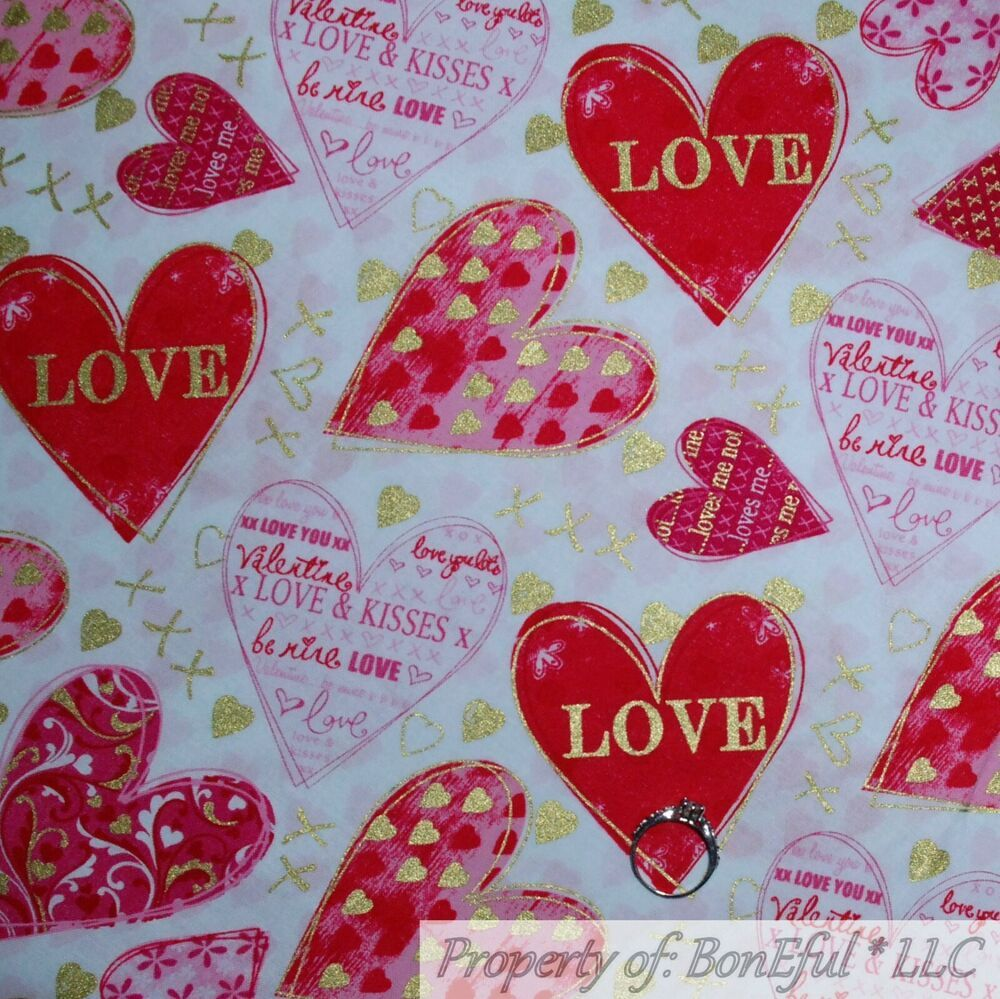 FAT QUARTER  COTTON FABRIC VALENTINE/'S DAY HEARTS LOVE PINK RED WHITE TEAL FQ