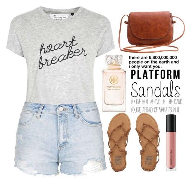 """""""Untitled #25"""" by angesh16072001 ❤ liked on Polyvore featuring Tee and Cake, Topshop, Billabong, Bare Escentuals and Tory Burch"""