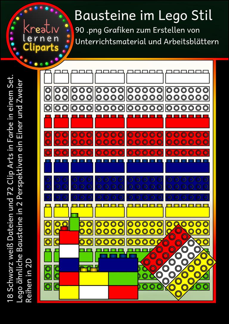 Bausteine in fünf Farben (rot, gelb, grün, blau, weiß und schwarz ...