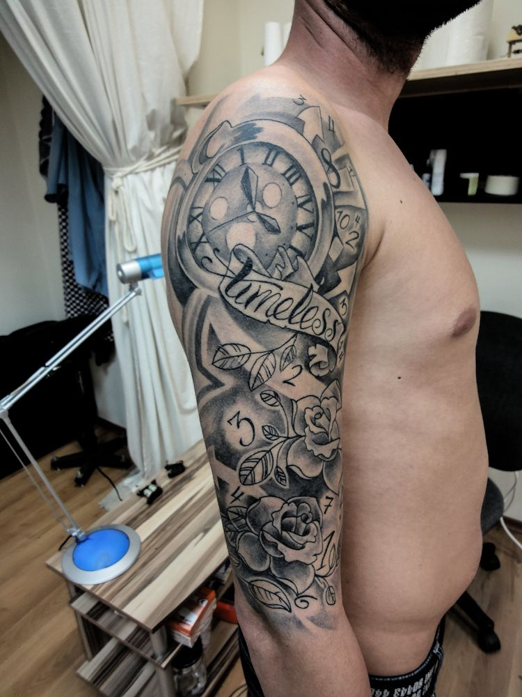 Pin by on timeless Clock tattoo sleeve