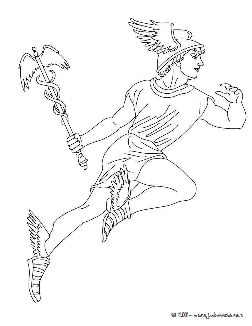 Coloriage Dieu Hermes Mythologie Grecque Dieux Grecs Coloriage