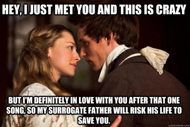 Lol Yup Les Mis Call Me Maybe Meme Cosette And Marius Les Miserables Funny Les Miserables Musical Movies