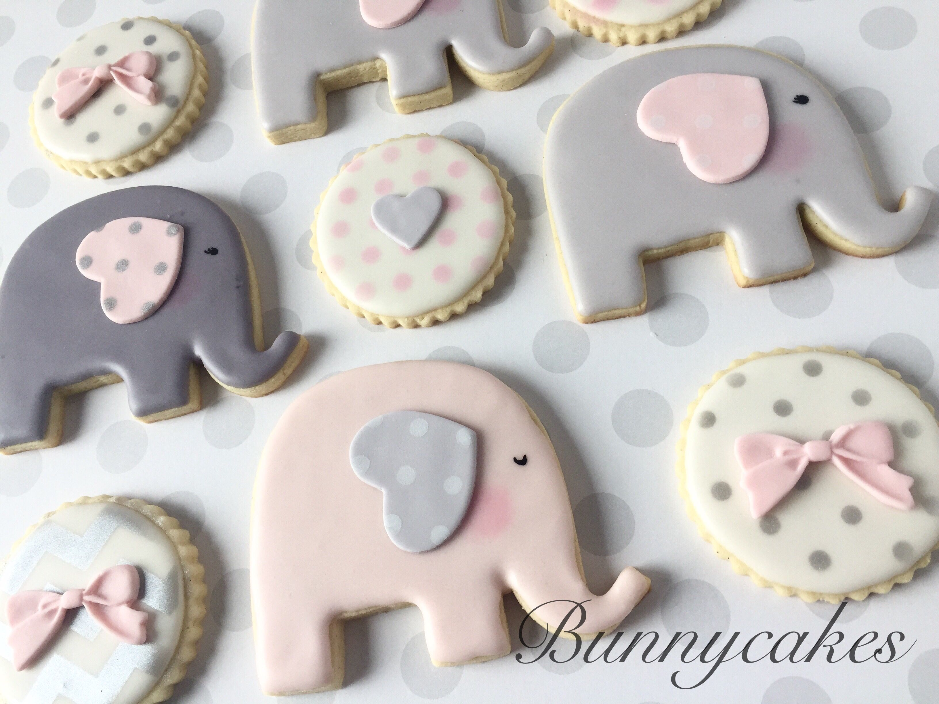 Pink and gray elephant themed baby shower sugar cookies by ...