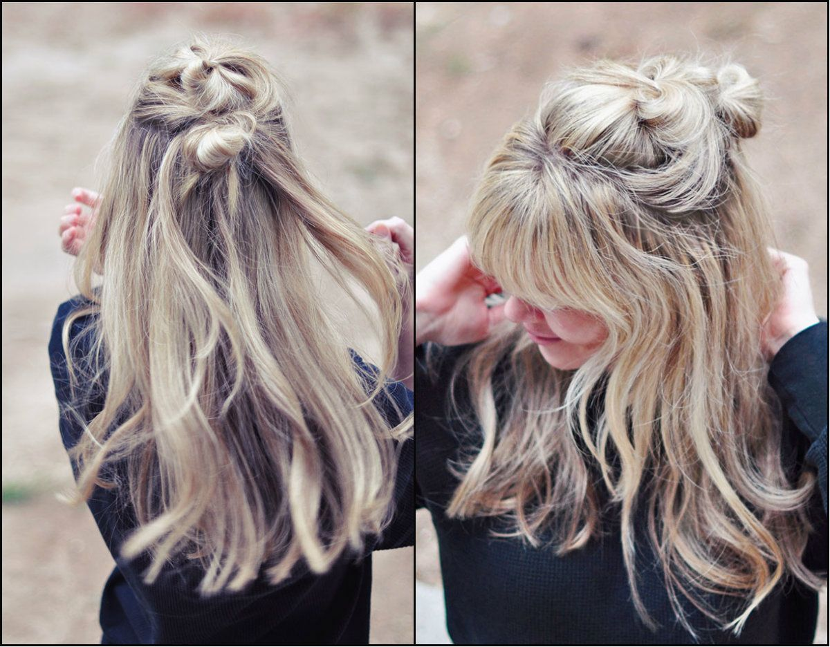 Half Up Half Down Top Knots Best For Summer Time Hair Pinterest