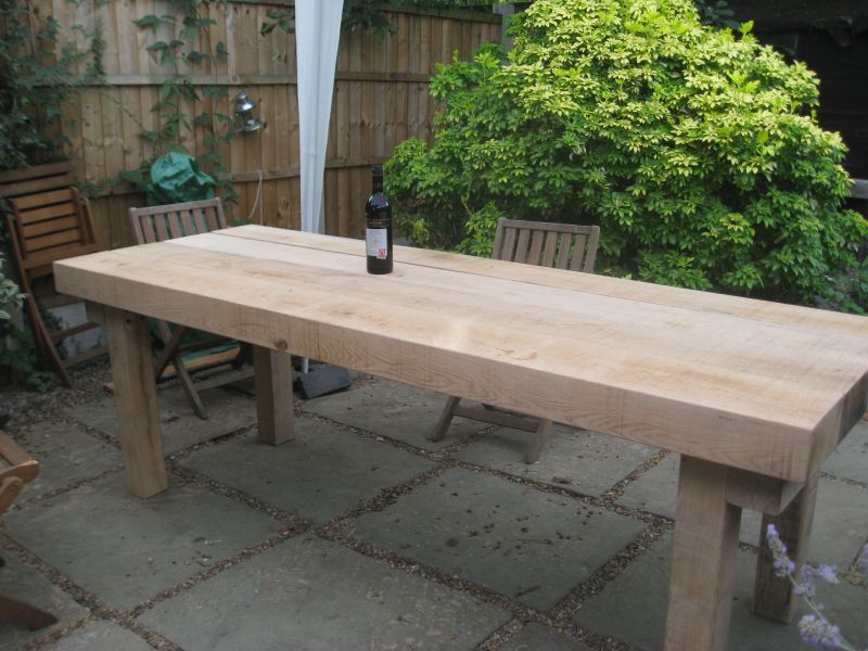 Extra Large Banqueting Table From New Oak Railway Sleepers Outdoor Patio Table Outdoor Dining Table Diy Diy Garden Furniture