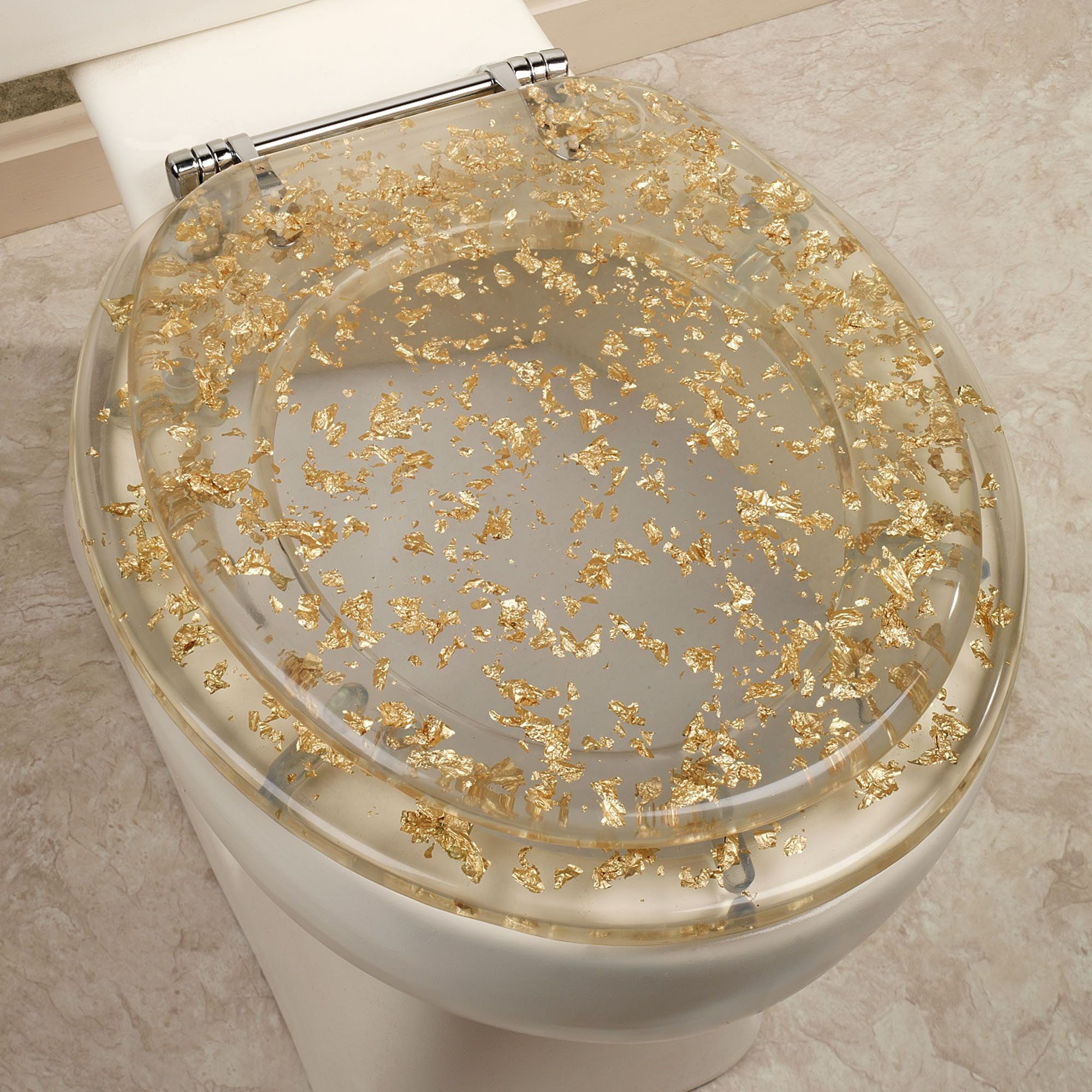 gold foil toilet seat clear so classy and so funny  home decor  - contemporary and cool the gold foil standard toilet seat will dazzle withits unique metallic accents crafted from resin this decorative toiletseat