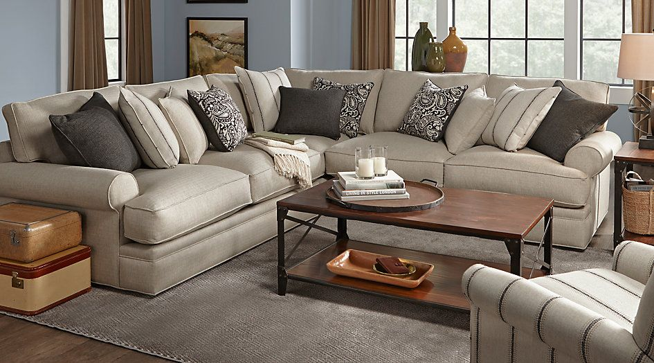 Cindy Crawford Home Lincoln Square Beige 3 Pc Sectional