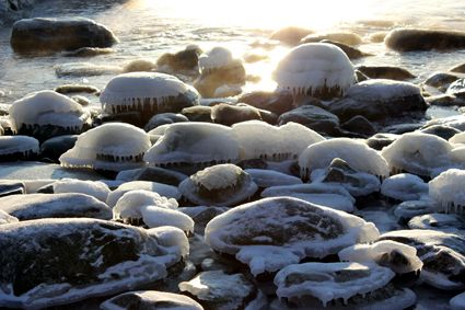 Icy stones by the sea