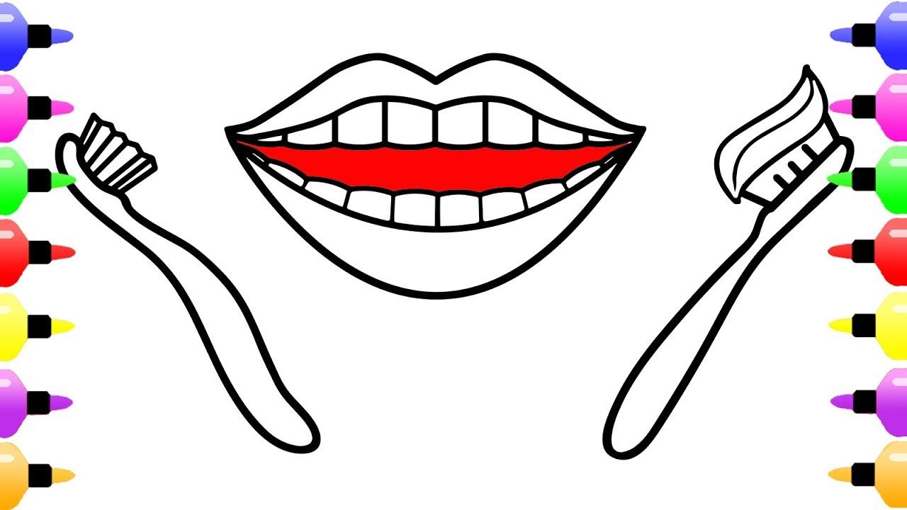 Mouth Teeth Toothbrush Drawing and Coloring Page for Kids | Coloring ...