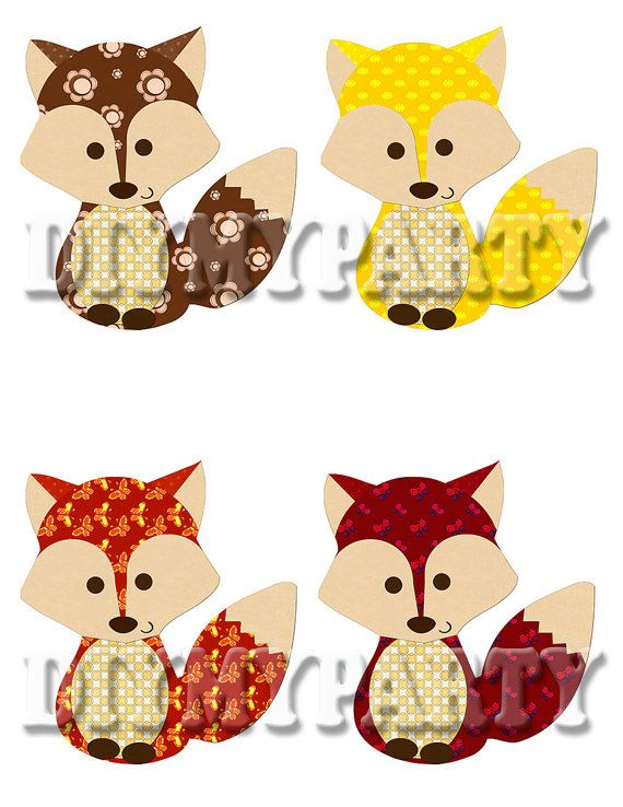 printable party decor foxes clip art foxes clipart by. Black Bedroom Furniture Sets. Home Design Ideas