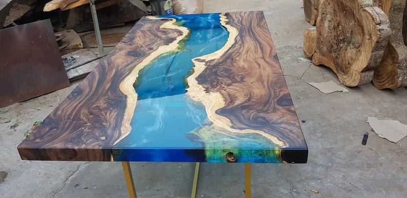 Blue River Table Top With Epoxy Inlay Senna Siamea Wood Epoxy Table Resin Table Coffee Table Idees Brico En 2019 Table De Resine L Art Du Bois Et Resine Epoxy Bois