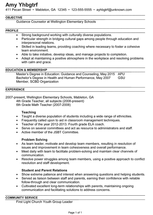 resume examples guidance counselor