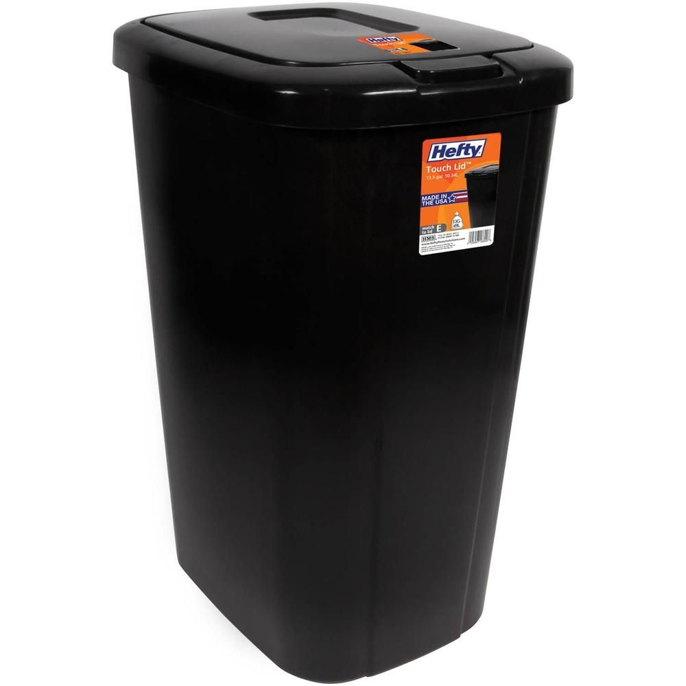 Perfect Kitchen Trash Can 13.3 Gallon Touch Lid Plastic Garbage Cans Indoor  Wastebasket