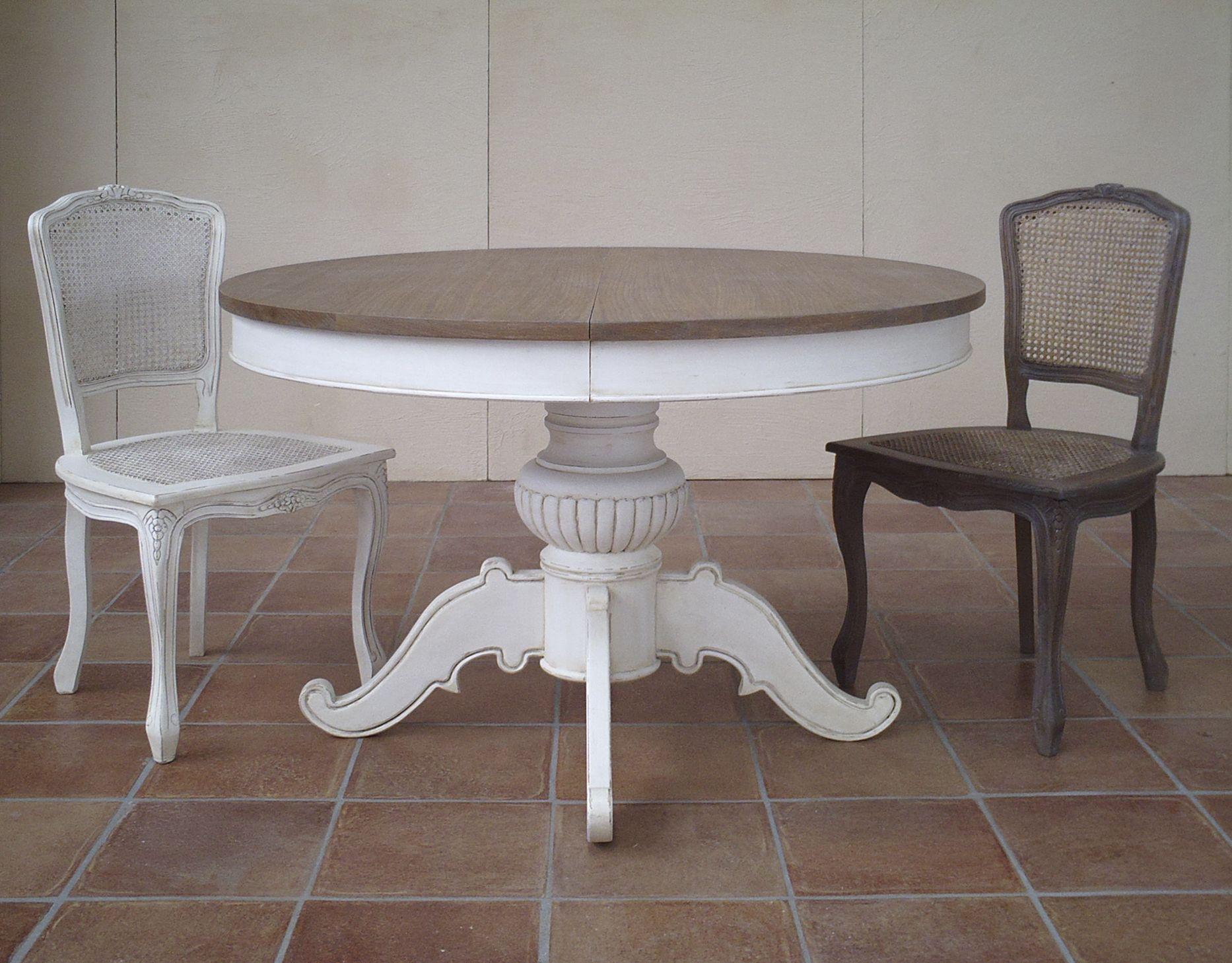 Tavolo legno massello rotondo AnnaLaura, fisso o