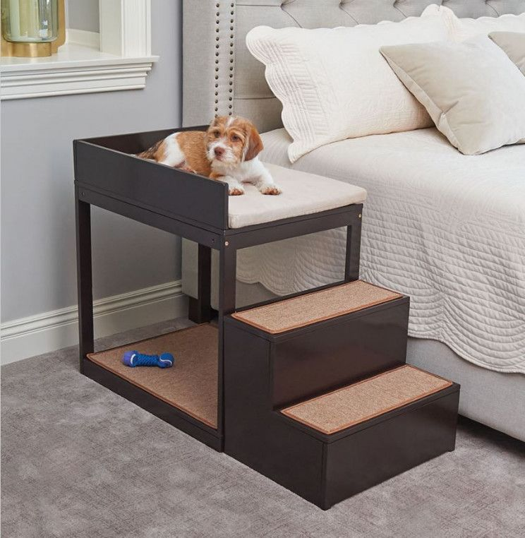 Lofted Bedside Bunk Bed For Your Pet Diy Dog Bed Dog Bed Cute