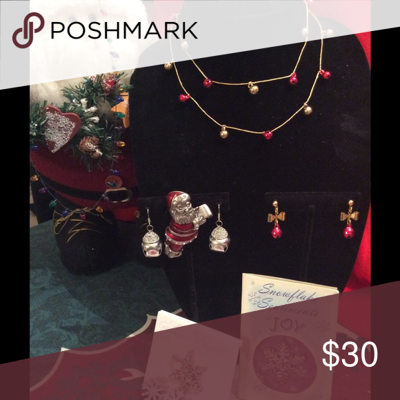 Holly Jolly Bundle of Holiday Jewelry!! Two Necklaces, two Pairs Earrings and Lovely Pins!! Jewelry