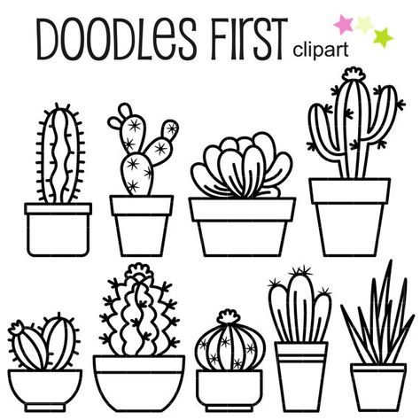Outline Cactus Digital Clip Art for Scrapbooking Card Making Cupcake Toppers Paper Crafts is part of Digital clip art - This clipart set includes the 8 x Assorted Outline Cacti  Each clipart illustration is included separately as a high resolution PNG file with a transparent background, a JPG with a white background and as a SVG file   Each object is provided at a sizes of 5 5 Inches on its longest side  The PNG
