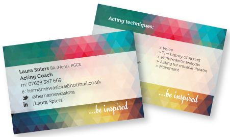 business card design for drama teacher and acting coach laura