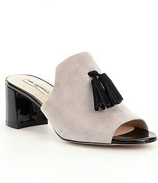 KARL LAGERFELD PARIS Hettie Suede Tassel Block Heel Dress Mules yr7Mh