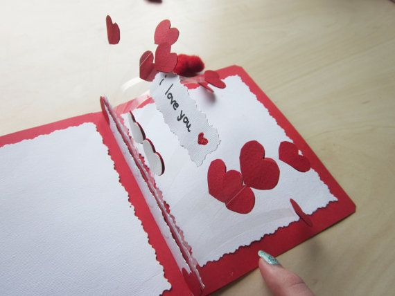 Personalized anniversary pop up cardhearts pop by twomysticflowers