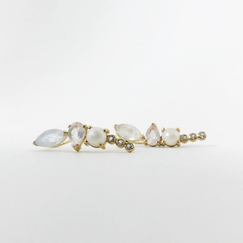 238e9e67c Moonstone & Opal Wing Ear Climbers | Luna Cat | Earrings, Ear, Opal