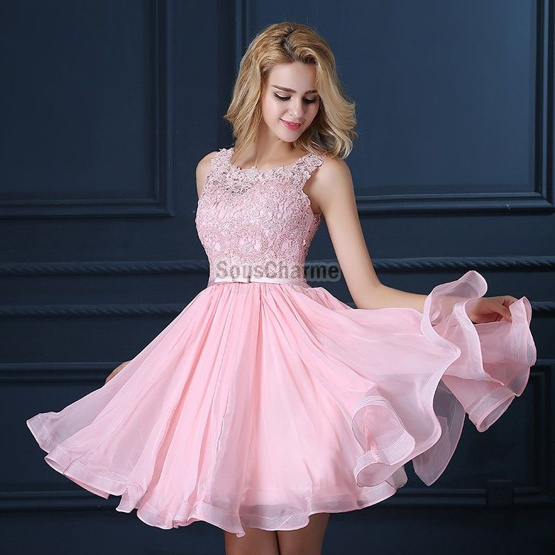 Robe de cocktail rose mousseline