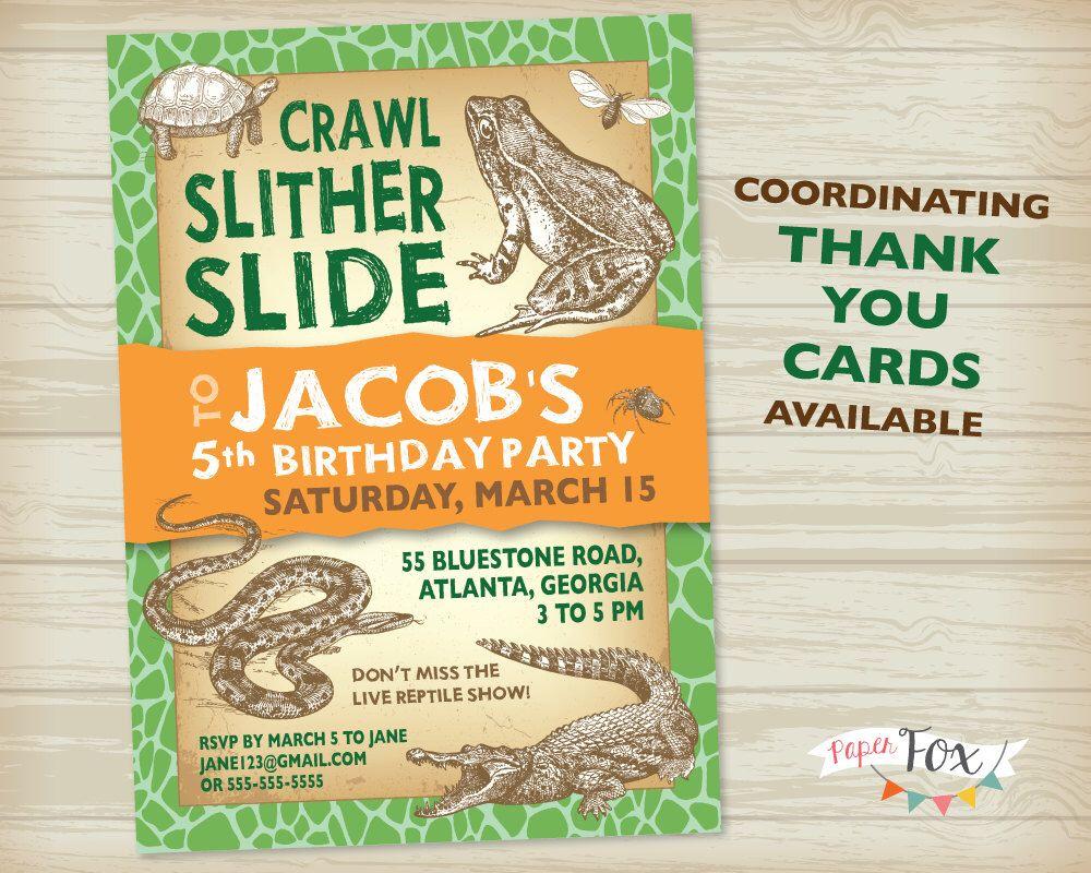 Reptile Birthday Invitation // Crocodile Birthday // Snake Birthday ...