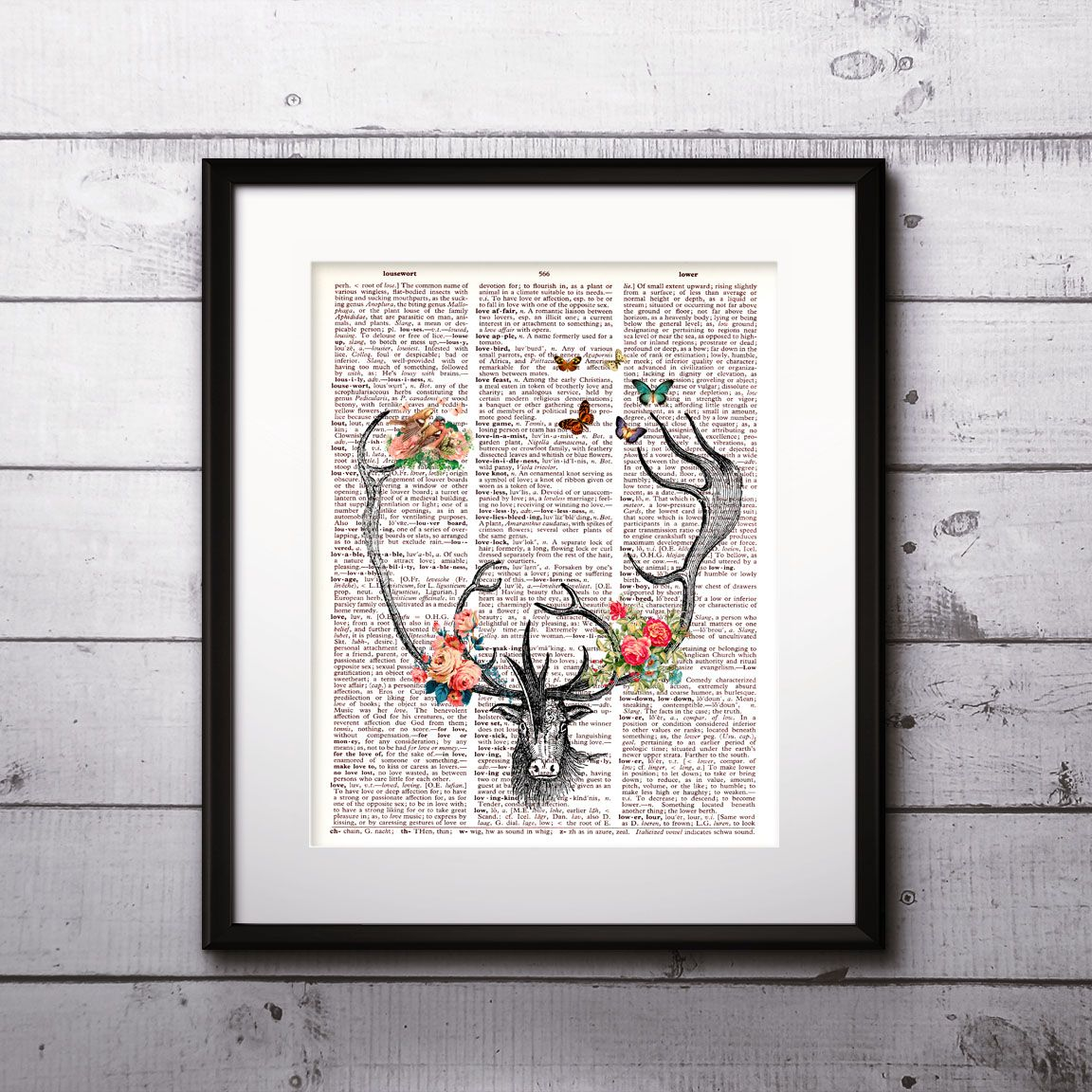 Deer Vintage Dictionary Wall Art Painting Home Decor Mixed Media Print