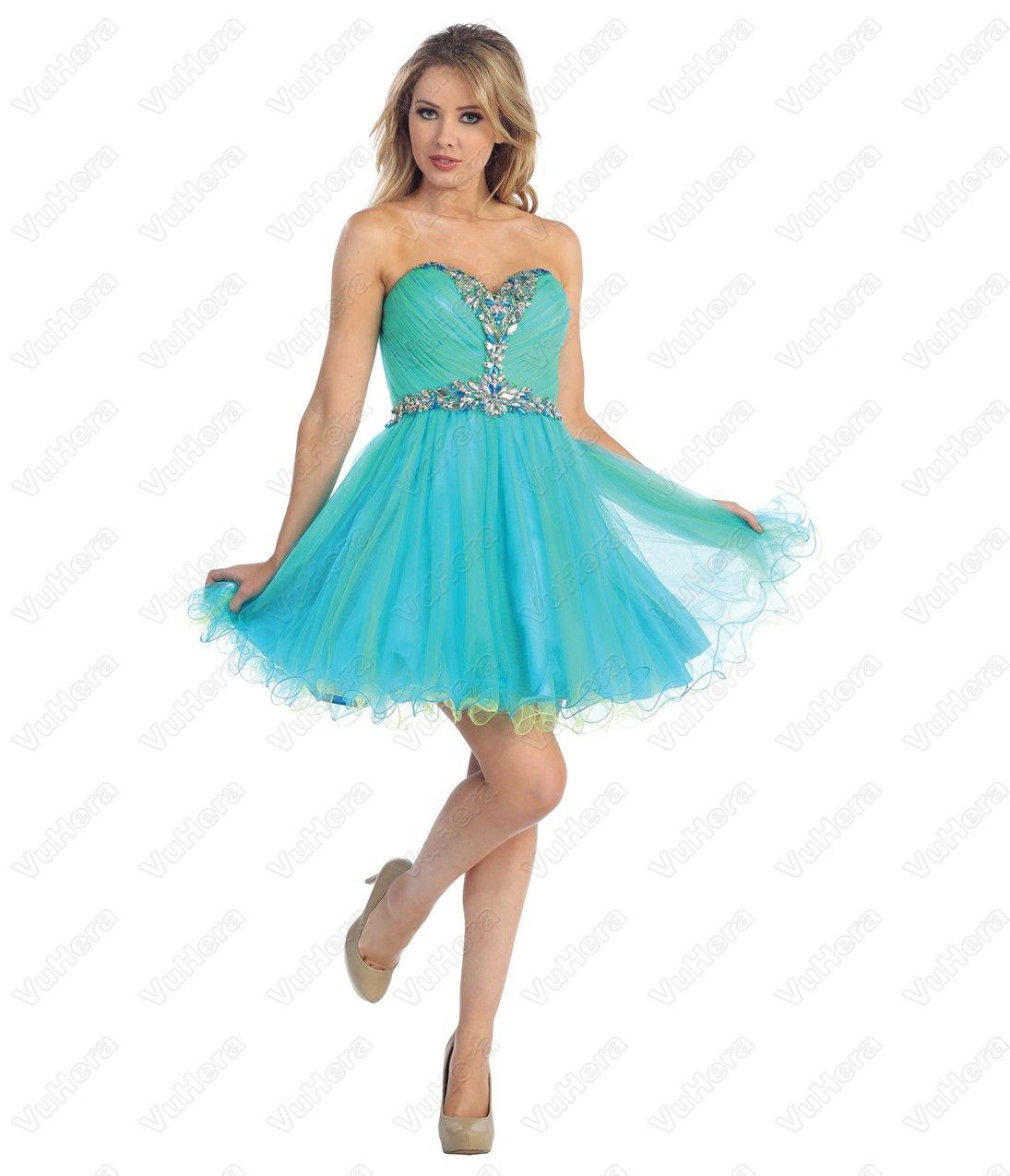 Neon Green Short Prom Dresses | Chiffon Strapless Blue Short Prom ...