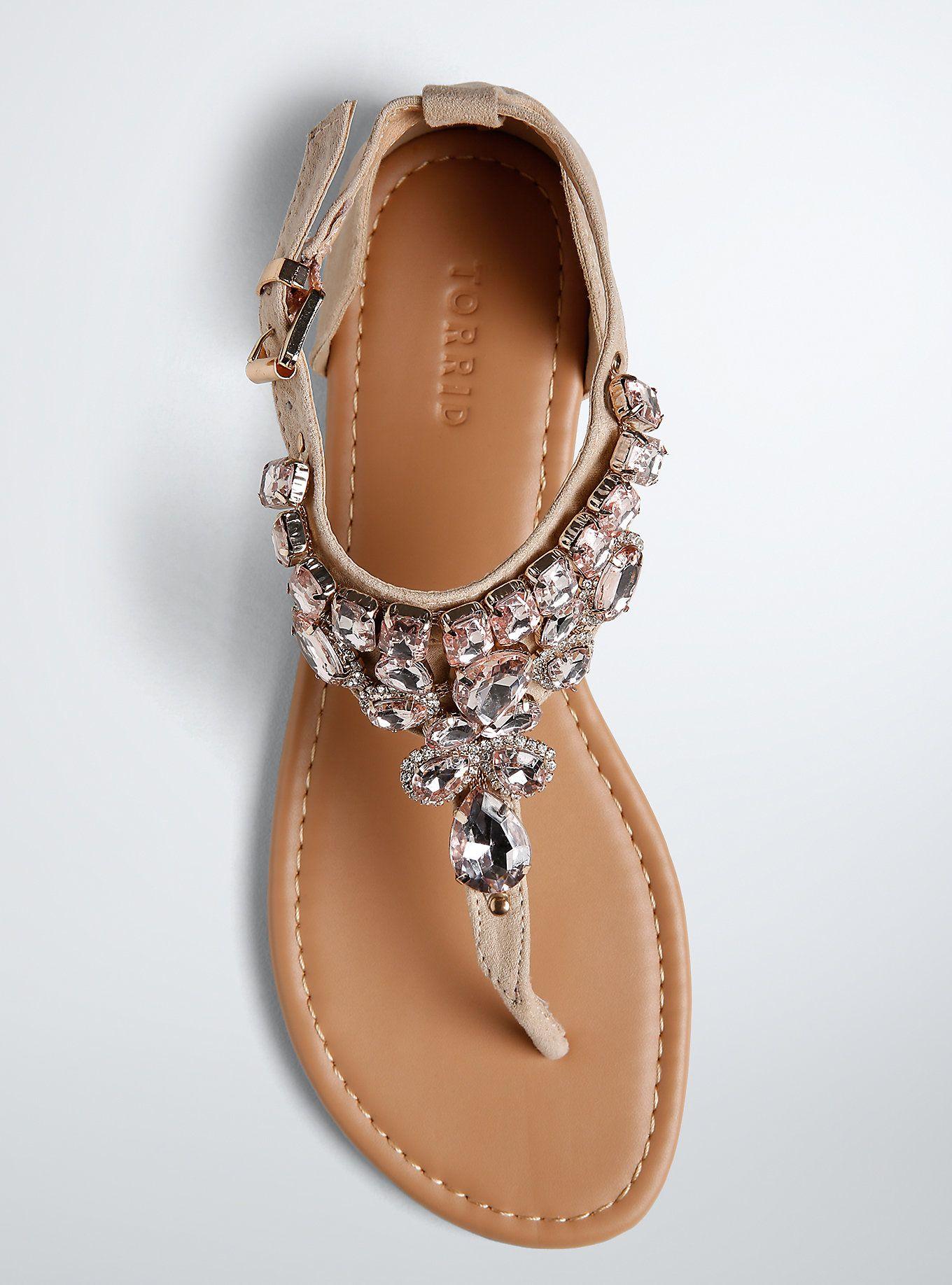 77dd35908150 Cute Wide Shoes - Metallic Gemstone Sandals (Wide Width)