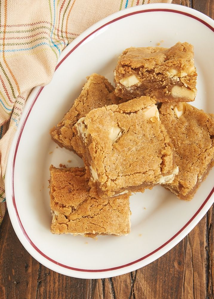 Peanut Butter White Chocolate Blondies are so soft, nutty, and delicious. One little extra ingredient makes them irresistible! - Bake or Break