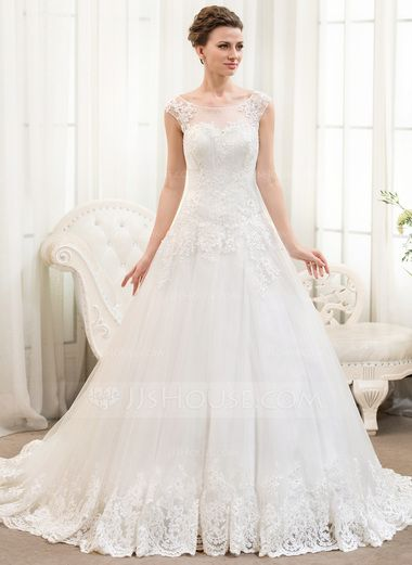 Ball-Gown Scoop Neck Chapel Train Tulle Lace Wedding Dress With Beading Sequins (002054359) - JJsHouse