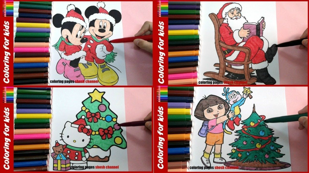 coloring pages shosh channel christmas coloring tutorial video compilation 4