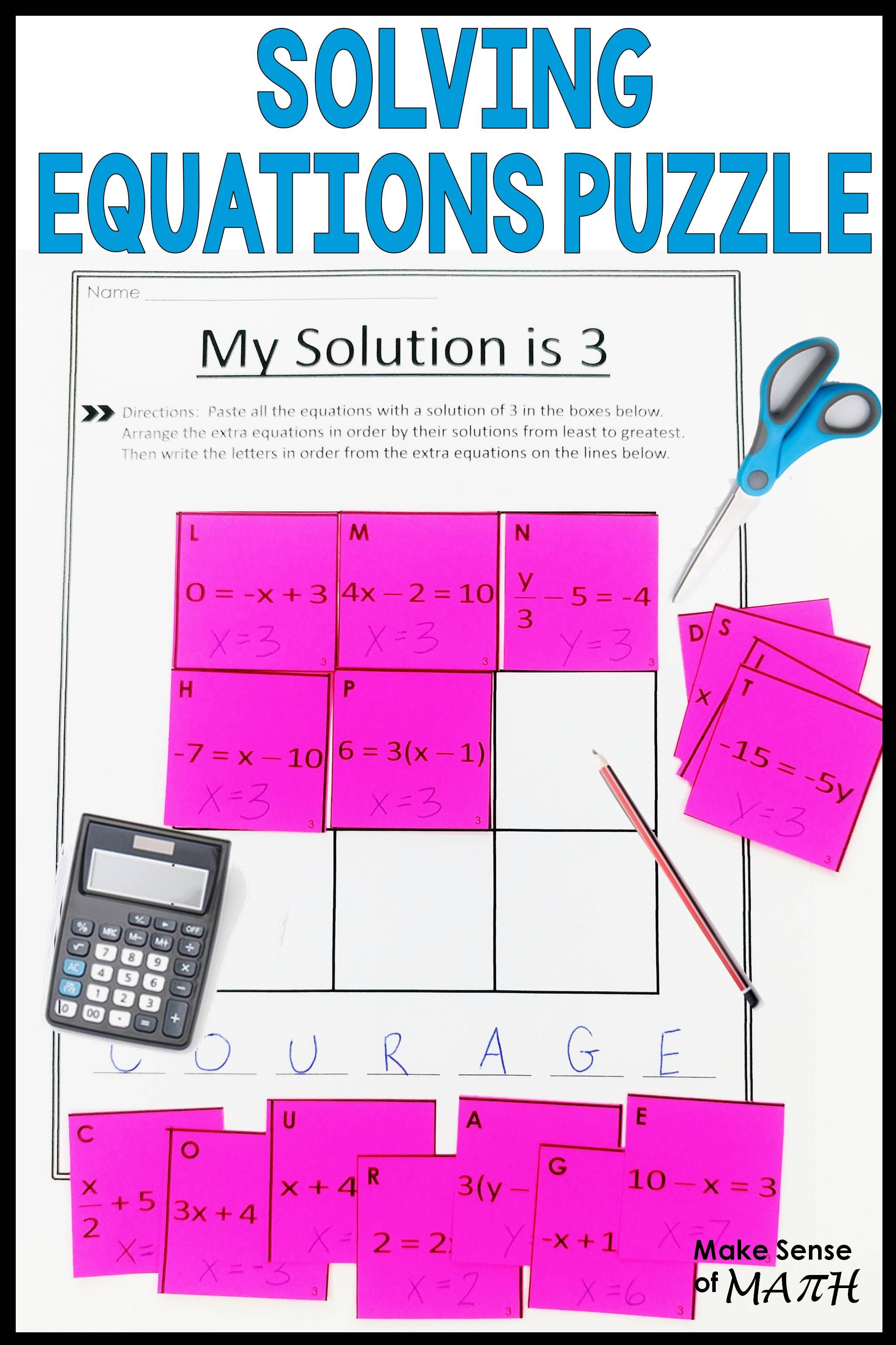 Solving Equations Puzzle